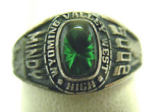 "SILVER SOUTH WYOMING VALLEY WEST HIGH SCHOOL RING GREEN STONE SIZE 7 ""MINDY"" '05"