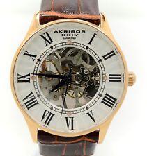 Akribos XXIV AK499RG Bravura Slim Mechanical Skeleton Diamond Men's Watch
