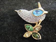 Swarovski Swan Signed Crystal Bird Pin Brooch w/ leaves  Retired Beautiful