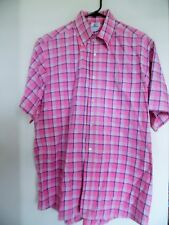 Lacoste Mens 44 Short Sleeve Shirt Pink Plaid