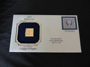 22KT Gold Replica US Stamp 1869 Regular Issue, 6 cent George Washington
