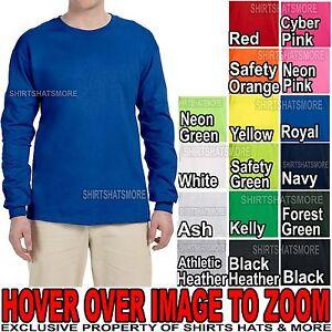 MENS Long SLEEVE T-Shirt Fruit of the Loom PRESHRUNK Heavy Cotton S-XL 2XL 3XL