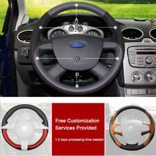 Custom made PU Leather Steering Wheel Cover Stitch on Wrap For Ford Focus 05-11