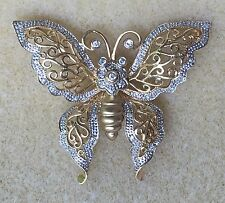 Large 14K White Yellow Gold Diamond Butterfly Moth Pin Brooch 585 Almost 2 Inch