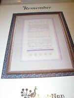 counted cross stitch pattern chart just nan remember me death announcement