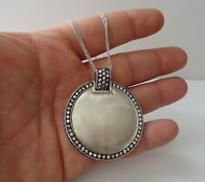 ROUND PENDANT NECKLACE W/ 6.50 CT LAB DIAMONDS / 925 STERLING SILVER