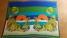 """Vintage Jacques Rollet Italy 80s Large Cotton Floral Scarf Wrap Sarong 56"""" x 41"""""""