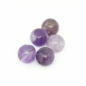 Natural amethyst beads, 10mm half-drilled x 5 by Pearls Direct