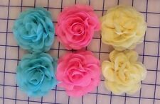 New listing Lot of 6 Chiffon Flowers: Hair, Baby, Toddler, Girls, Barrettes, Flower Clips