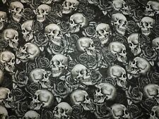 Skulls Roses 100% Cotton Fabric 1/2 Yard Precut