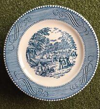 "Set Of 10 HARVEST Currier & Ives  Pattern Bread/Butter Plate Bl/wh6.5"" Royal"