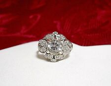 VINTAGE 14K WHITE GOLD ELEGANT DIAMOND AND AQUAMARINE CLUSTER FLOWER RING SIZE 7