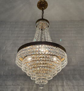 Antique Vintage Brass & Crystals Beautiful French Chandelier Lighting Lamp Light