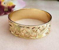 25mm Gold Engraved Hawaiian Heirloom Bangle Bracelet, Heavy Weight High Quality