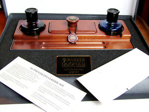 Rare Boxed 1994 Exclusive Edition Parker Duofold Maple Wood Desk Set