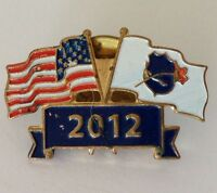 2012 American Police Benevolent Society Twin Flag Pin Badge Rare Vintage (H2)