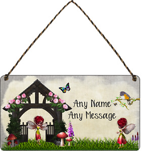Personalised Fairy Garden Hanging Plaque sign Garden Shed SummerHouse playhouse
