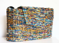 Recycled Handmade Wrapper Tote Bag Paper Structured Basket Purse Artisan Made