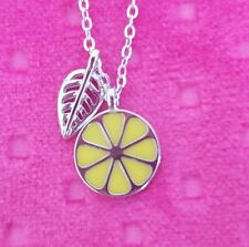 Beautiful Silver Necklace with Lemon Wedges Pendant. Quirky and contemporary x3
