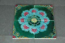 4 Pc Vintage Majolica Decorative Floral Design Nouveau Architecture Tiles,Japan