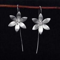 Cute Feel Fashion Lotus Flower Tassel Dangle Hook Earrings 925 Sterling Silver