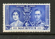 Mauritius 1937 Coronation 20c line by sceptre SG251b unmounted mint stamp