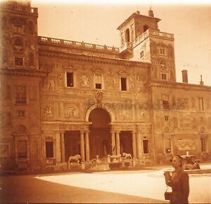 ITALIE Villa Médicis Rome 1952Photo Stereo Plaque verre Vintage VR23L2n5
