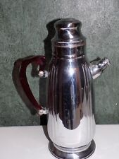 Vtg Art Deco Cocktail Mixer Pitcher Stainless Chrome Red Lucite Bakelite Handle