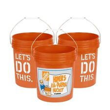 5-Gallon Bucket Home Depot Homer Plastic Utility Orange Pail Heavy Duty (3-PACK)