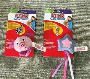 2 x KONG Charmed Catnip Cat Toys With Collar Pendant Charm - PIG And STAR