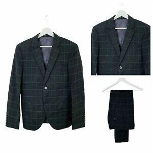 Mens 2 Piece Suit 34R 30W 31L Grey Windowpane Check Formal Smart  P142