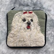 MALTESE WOOL NEEDLEPOINT COIN PURSE WITH ZIP CLOSE