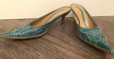 PAZZO Women's Kadola Teal and Tan Leather Embroidered Mules Size 7.5