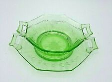 INDIANA PATTERN GREEN URANIUM GLASS BOWL & PLATE ETCHED W/ HANDLES VINTAGE