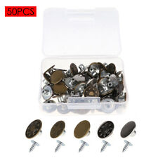 50 Sets Vintage Metal Jeans Button Tack Press Buttons Kit with Rivets and Box