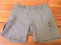 "Eddie Bauer Olive Gray Green Nylon Mens Swim Trunks Cargo Shorts XL 40"" Waist"