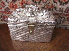 ANTIQUE SILVER PLATED MONEY BANK MONEY BOX DOGS in BOX AK&C VIENNA 1900