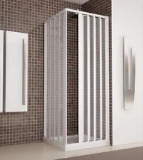Box doccia angolare, cm.70x70, cabina a soffietto reversibile in acrilico bianco
