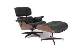 Eams Lounge Chair and Footstool Ottoman 100% Real Leather Walnut In Stock