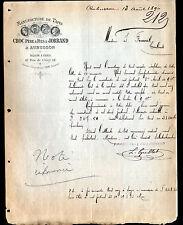 """AUBUSSON (23) & PARIS (II°) USINE de TAPIS """"CROC & JORRAND"""" en 1890"""