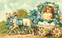 Fabric Block Vintage Easter Postcard Printed onto Fabric Easter Lamb Carriage