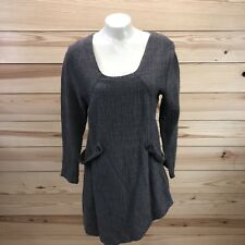 Cannisse Shirt Small Tunic Taxi Gray Wool Asymmetrical Hem Loops Lagenlook B71