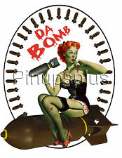 Zombie Bomber Pinup Girl Waterslide Decal Sticker for Guitars & more S836