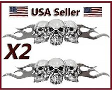 2 Custom Chrome 3D Skull & Flame Black Eyes Emblem Self Adhesive Car Decal /Logo