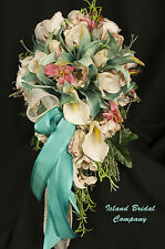 Turquoise Lily Ivory Calla Lily Wedding Bouquet Bride 12 Piece