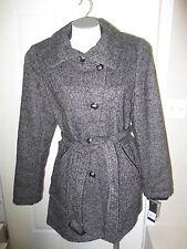 Buffalo David Bitton Assymetrical Button Front Wool Coat L Black-Grey  NWT