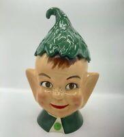 Vintage mcm 1950s ceramic kitschy cute Elf pixie Cookie Jar Inscribed underneath
