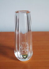 "Orrefors Bud Vase Engraved Flowers Small 4 1/2"" Label Signed Clear Glass Sweden"