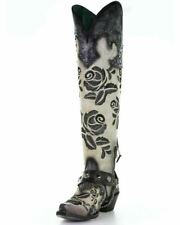 "Corral Women's Western Leather 20"" Embroidery Studs Tall Boots White/Black A3843"