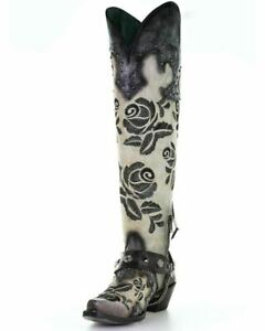 """Corral Women's Western Leather 20"""" Embroidery Studs Tall Boots White/Black A3843"""